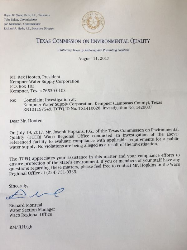 TCEQ Inspection Results